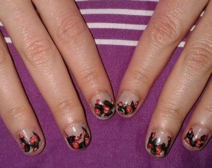 Elegant rose garden nail art
