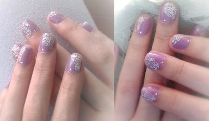White and violet lace nails