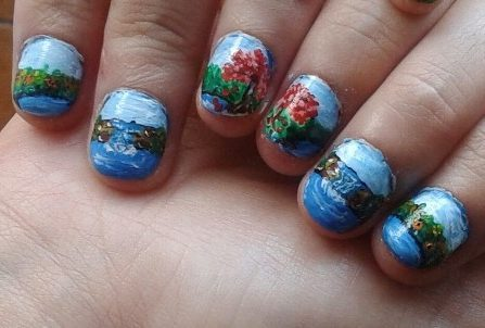 Landscape waterfall nails