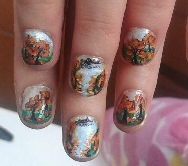 Autumn landscape nails