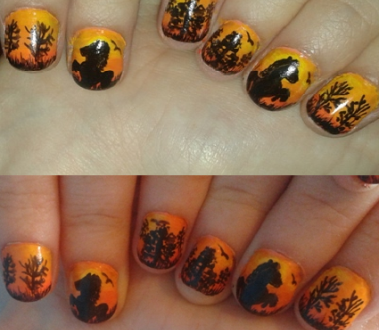 Horse on sunset nails