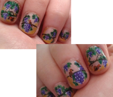 Grapes and birds nail art