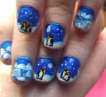 Arctic and penguins nails