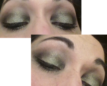 Black and green makeup