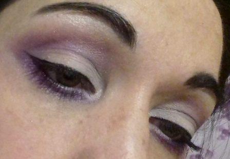 White and purple makeup