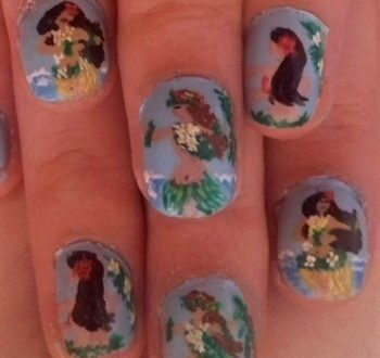 Hula dancers nails