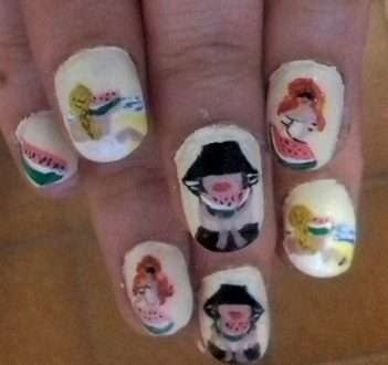 watermelon women nails