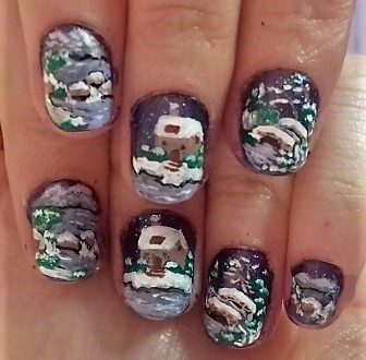 Violet winter landscape nails