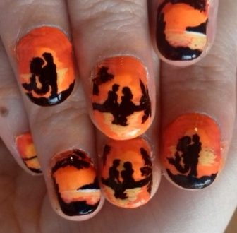 Romantic sunset nails