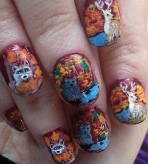 Autumn animals nails
