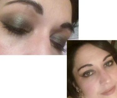 Dark green smokey makeup