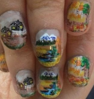 mountain river painting nails