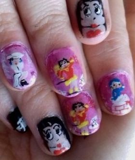 Winter betty boop nails