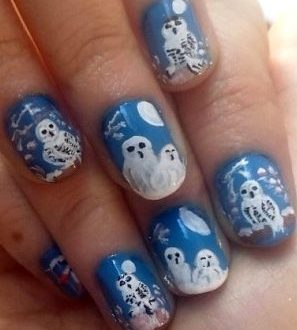 Owls winter nails