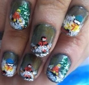 Winter skiers nails
