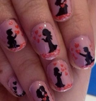 Valentine's day couple nails