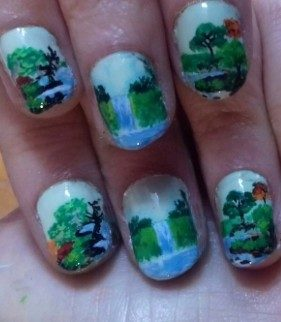 Forest waterfall nails