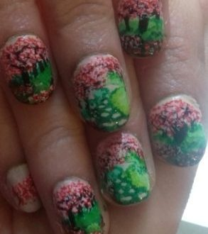 Cherry blossom garden nails
