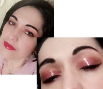 Glossy makeup look