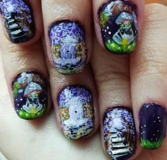 Purple forest nails