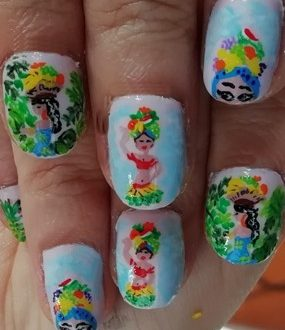 Hat fruit women nails