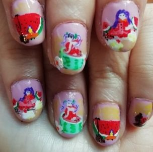 Manga watermelon nails