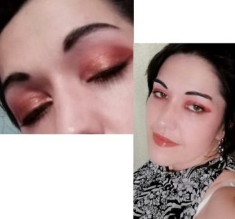 Red and bronze eyes makeup