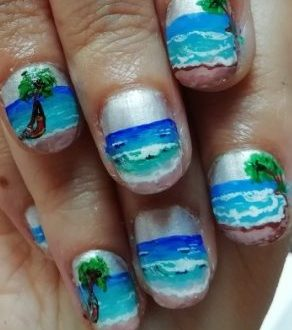 Tropical seascape nails