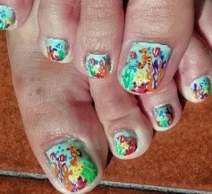 Coral reef feet nails
