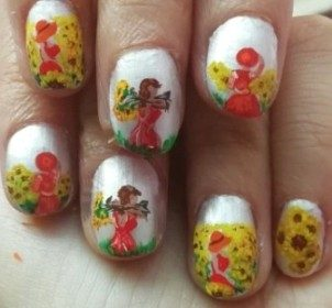 Sunflowers ffields nails