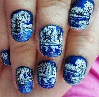 Snow landscape nails