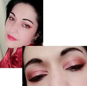 Rose and red glam makeup