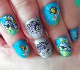 Butterflies and flowers nails
