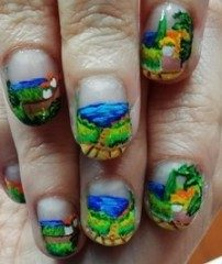 Lake landscape nails