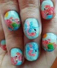 Sweet flamingos nails