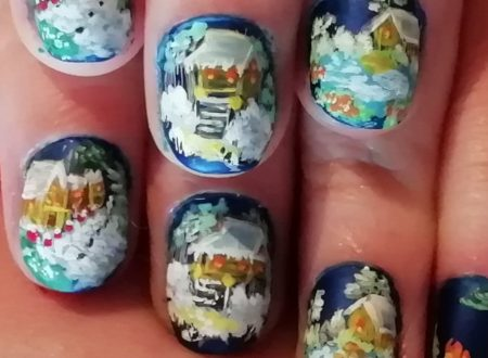winter landscape nails