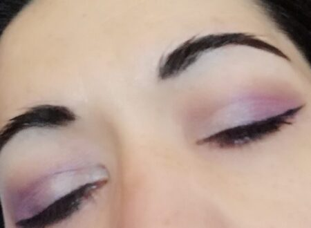 White and violet makeup